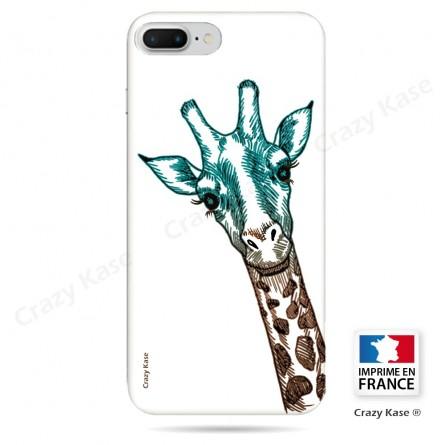 Coque iPhone 7 Plus souple motif Tête de Girafe sur fond blanc - Crazy Kase