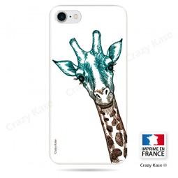 Coque iPhone 7 souple motif Tête de Girafe sur fond blanc - Crazy Kase