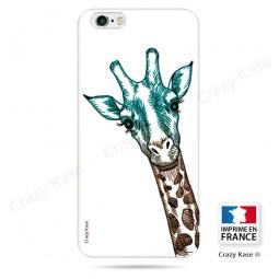 Coque iPhone SE / 5S / 5 souple motif Tête de Girafe sur fond blanc - Crazy Kase