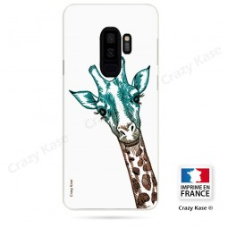 Coque Galaxy S9+ souple motif Tête de Girafe sur fond blanc - Crazy Kase