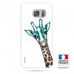 Coque Galaxy S7 Edge souple motif Tête de Girafe sur fond blanc - Crazy Kase