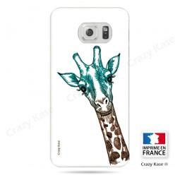 Coque Galaxy S6 Edge souple motif Tête de Girafe sur fond blanc - Crazy Kase