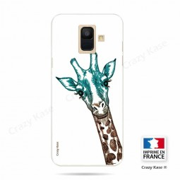 Coque Galaxy A6 (2018) souple motif Tête de Girafe sur fond blanc - Crazy Kase