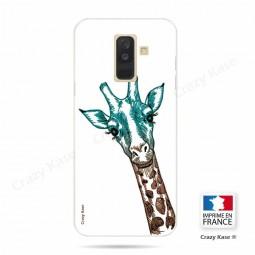 Coque Galaxy A6+ (2018) souple motif Tête de Girafe sur fond blanc - Crazy Kase
