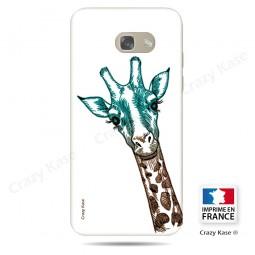 Coque Galaxy A5 (2017) souple motif Tête de Girafe sur fond blanc - Crazy Kase