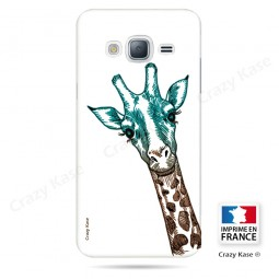 Coque Galaxy J3 (2016) souple motif Tête de Girafe sur fond blanc - Crazy Kase