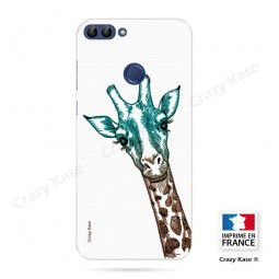 Coque Huawei P Smart souple motif Tête de Girafe sur fond blanc - Crazy Kase