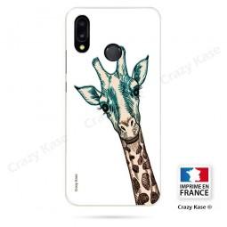 Coque Huawei P20 Lite souple motif Tête de Girafe sur fond blanc - Crazy Kase