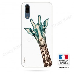 Coque Huawei P20 souple motif Tête de Girafe sur fond blanc - Crazy Kase