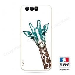 Coque Huawei P10 souple motif Tête de Girafe sur fond blanc - Crazy Kase