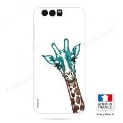 Coque Honor 9 souple motif Tête de Girafe sur fond blanc - Crazy Kase