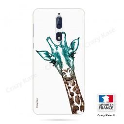 Coque Nokia 8 souple motif Tête de Girafe sur fond blanc - Crazy Kase