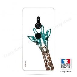 Coque Sony Xperia XZ2 souple motif Tête de Girafe sur fond blanc - Crazy Kase