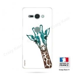 Coque Sony Xperia XZ2 Compact souple motif Tête de Girafe sur fond blanc - Crazy Kase