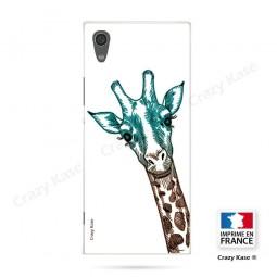 Coque Xperia XA1 souple motif Tête de Girafe sur fond blanc - Crazy Kase
