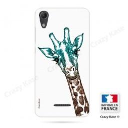 Coque Wiko Lenny 4 souple motif Tête de Girafe sur fond blanc - Crazy Kase