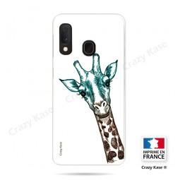Coque compatible Galaxy A20e souple Tête de Girafe sur fond blanc- Crazy Kase