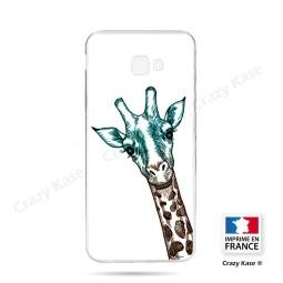 Coque compatible Galaxy J4 Plus souple Tête de Girafe sur fond blanc- Crazy Kase