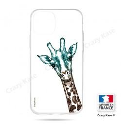 Coque compatible iPhone 11 Pro souple motif Tête de Girafe sur fond blanc- Crazy Kase