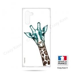Coque compatible Galaxy Note 10 souple Tête de Girafe sur fond blanc- Crazy Kase