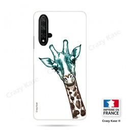 Coque compatible Honor 20 souple Tête de Girafe sur fond blanc- Crazy Kase