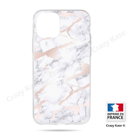 Coque compatible iphone 11 souple effet Marbre rose - Crazy Kase