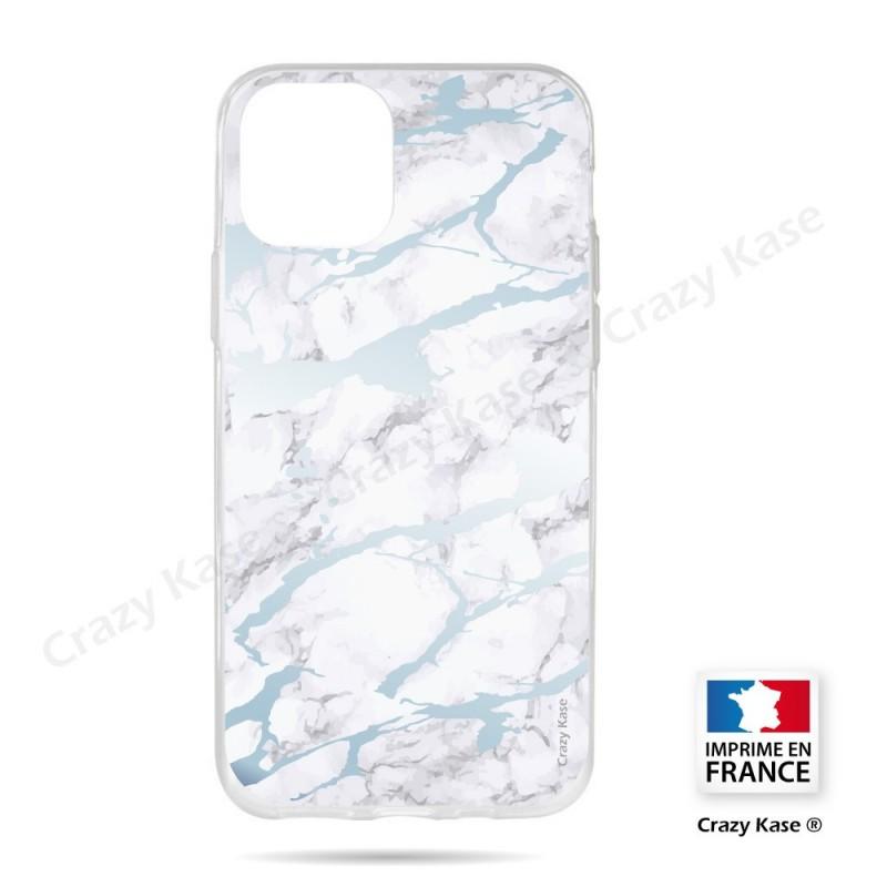 Coque compatible iphone 11 souple effet Marbre bleu - Crazy Kase