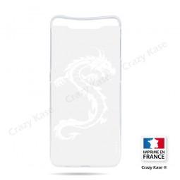 Coque compatible Galaxy A80 souple Dragon Blanc - Crazy Kase