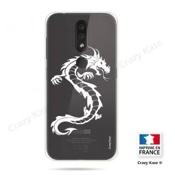 Coque compatible Nokia 4.2 souple Dragon Blanc - Crazy Kase
