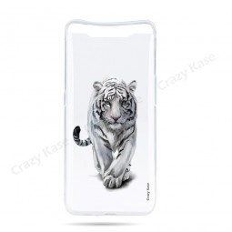 Coque compatible Galaxy A80 souple Tigre blanc - Crazy Kase