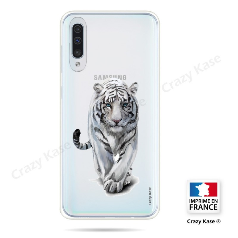 Coque compatible Galaxy A50 souple Tigre blanc - Crazy Kase