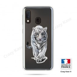 Coque compatible Galaxy A20e souple Tigre blanc - Crazy Kase
