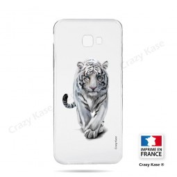Coque compatible Galaxy J4 Plus souple Tigre blanc - Crazy Kase