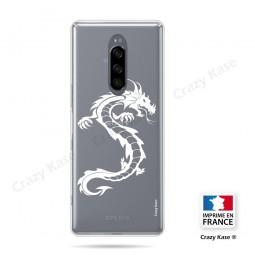Coque compatible Xperia 1 souple Dragon Blanc - Crazy Kase