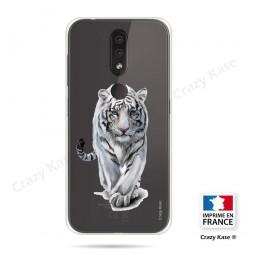 Coque compatible Nokia 4.2 souple Tigre blanc - Crazy Kase