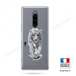 Coque compatible Xperia 1 souple Tigre blanc - Crazy Kase