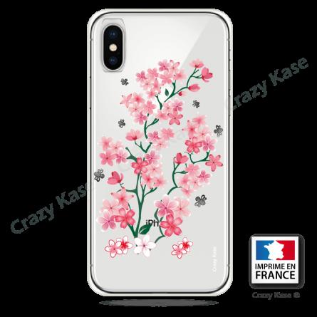coque iphone xr transparente motif fleur